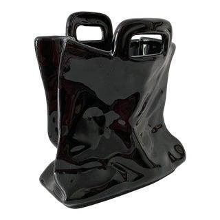 Italian Porcelain Handbag Sculptural Vase For Sale
