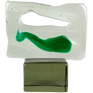 Luciano Gaspari Salviati Murano Abstract Gray Green Italian Art Glass Sculpture For Sale