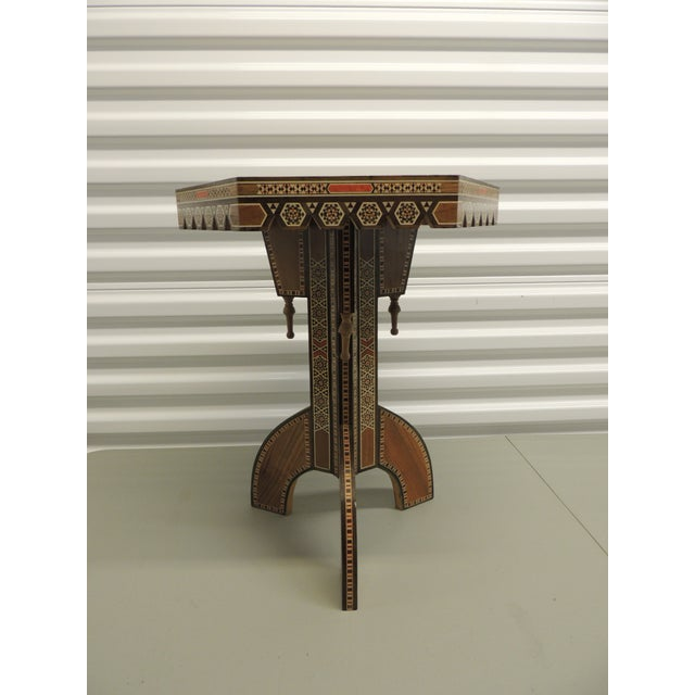 Vintage Inlaid Egyptian side table with tripod base - Image 2 of 5