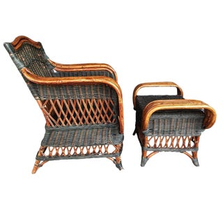 """Art Deco Wicker & Rattan Armchair and Ottoman President's Style Deco Green and Natural Wicker Armchair and Footstool French """"Grange"""" Rattan Armchair For Sale"""