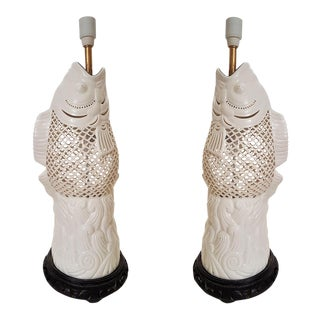 White Ceramic Chinese Lamps - a Pair For Sale