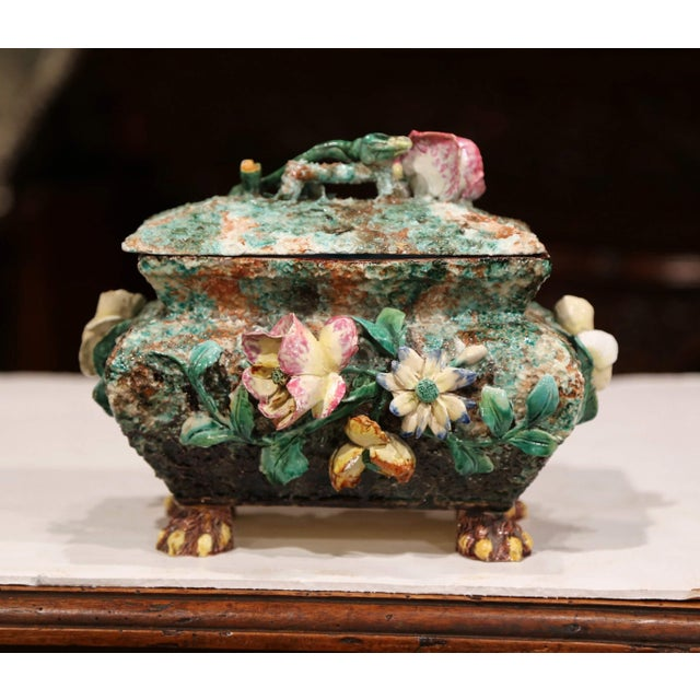 Decorate a shelf with this elegant and colorful antique Majolica box. Crafted in France circa 1860, the ceramic piece sits...