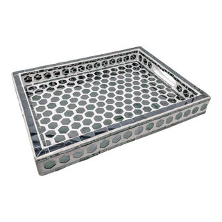 Made Goods Mirrored Tray With Hexagon Mosaic For Sale