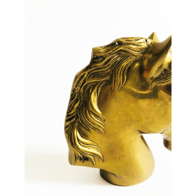 Large Vintage Brass Horse Head For Sale - Image 4 of 7