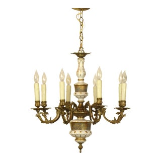French Limoges Bronze Eight Arm Chandelier For Sale