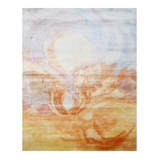 """Modern Hand Knotted Wool & Silk Rug - 7'11"""" X 10'3"""" For Sale"""