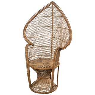 Petite Rattan Peacock Chair For Sale