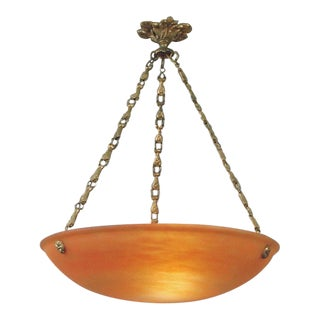 Antique French Art Glass Lighting Bowl With Original Brass Hardware For Sale