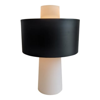 Postmodern Sonneman Style Frosted Glass Table Lamp With Shade For Sale