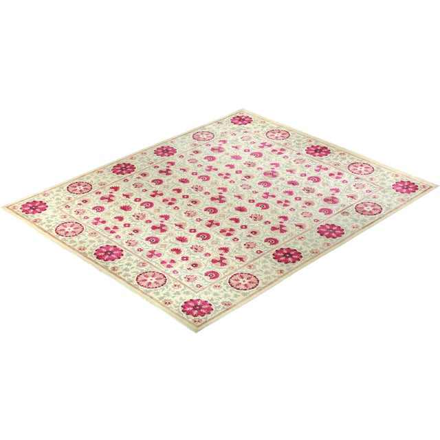 """Pink Suzani Hand-Knotted Area Rug 12' 4"""" x 15' 3"""" For Sale - Image 8 of 9"""