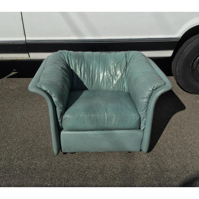 1980s Contemporary Light Blue Leather Hickory Nc Club Chair For Sale - Image 11 of 13
