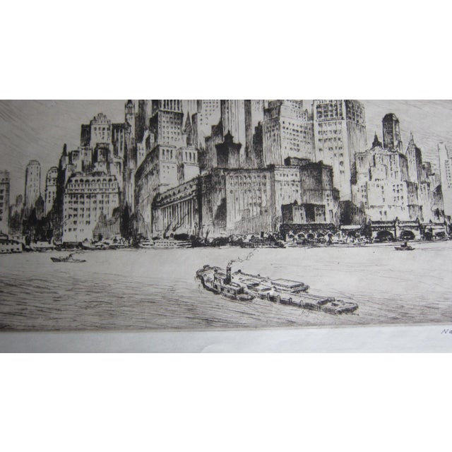 """Vintage Nat Lowell """"Tip of Manhattan"""" Ca. 1940 Signed Limited Edition Etching the Battery, Lower Manhattan, Original Label, Professionally Conserved For Sale - Image 4 of 8"""