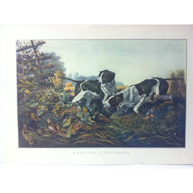 """This is a reproduction of a Currier & Ives color print that is titled """"American Field Sports"""". The print is dated 1954 and..."""