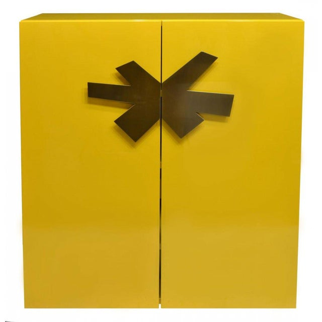 Contemporary Mid-Century Modern Yellow High Gloss Lacquered Cabinet With Large Brass Asterisk Pulls For Sale - Image 3 of 4