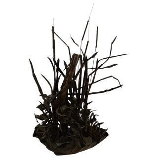 Large Verdigris Copper Cattails and Driftwood Fountain For Sale