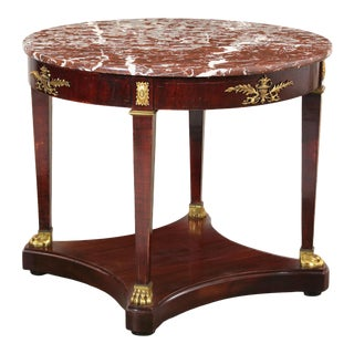 Louis XVI Style Gilt Bronze Mounted Mahogany Center Table With Marble Top For Sale