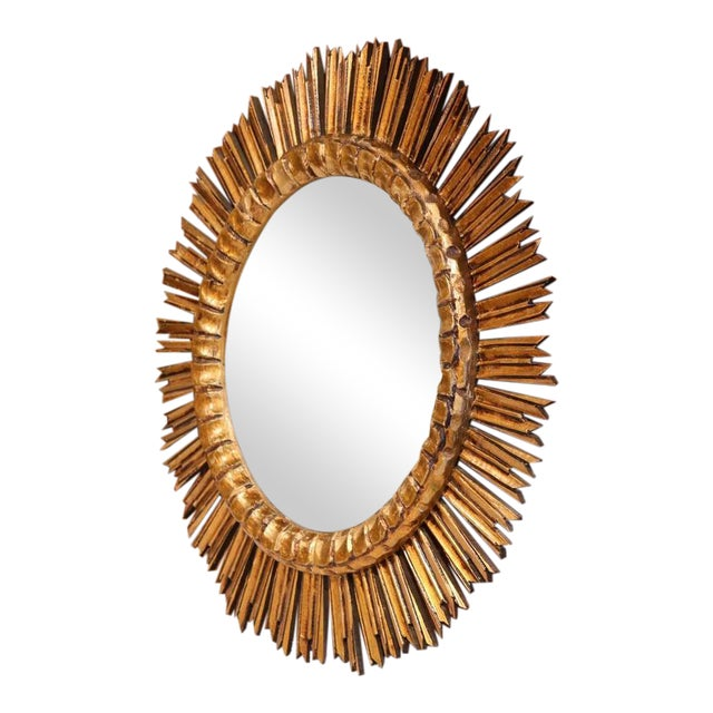 Mid-Century French Sunburst Convex Mirror - Image 1 of 7