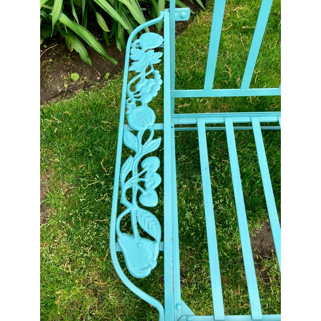 Metal Vintage Woodard Style Blue Wrought Iron Sofa With Harvest Motif For Sale - Image 7 of 9