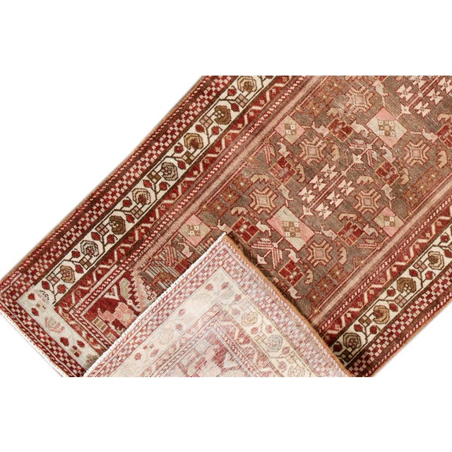 "Islamic 1910s Traditional Apadana-Antique Persian Distressed Rug - 2'3"" X 10'0"" For Sale - Image 3 of 11"