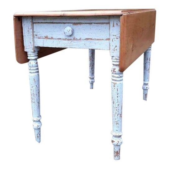 1800's Antique Pine Wood Drop Leaf Farmhouse Painted Distressed Table With Drawer For Sale