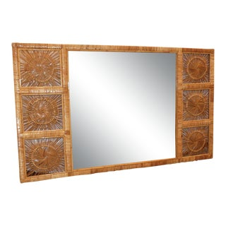 Vintage Boho Chic Rattan Wall Mirror For Sale