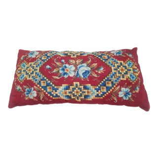 Early 20th Century Antique Needlepoint Lumbar Pillow For Sale