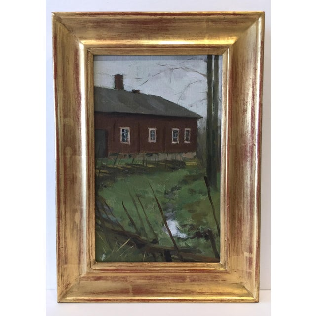"Contemporary Pöyhönen Framed Painting ""Gray Fall Day at Kauppila"", Contemporary Landscape With Architecture For Sale - Image 3 of 7"