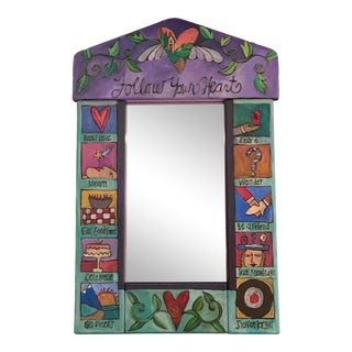 1990s Folk Art Sticks Hand Made Painted Mirror For Sale