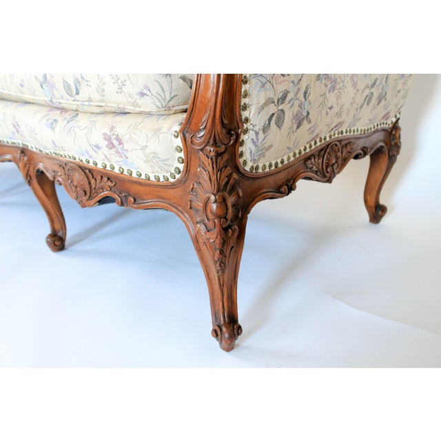 Brass Antique Sofa W/ Carved Wood & Feather Down Cushion For Sale - Image 7 of 13