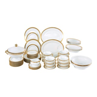 Late 20th Century Gilt Porcelain Dinner Set - Service for 12 For Sale