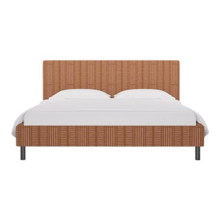 California King Tailored Platform Bed in Pink Blocks For Sale