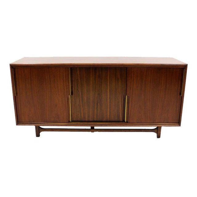 Walnut Danish Mid Century Modern Credenza w/ Sliding Doors 12 Drawers Brass Pull For Sale - Image 9 of 9