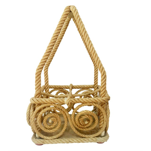 Rope Bottle Carrier Audoux Minet, Circa 1950 For Sale In Austin - Image 6 of 6