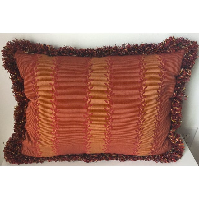 Vintage Orange & Red Silk Fringe Pillows - A Pair - Image 5 of 7