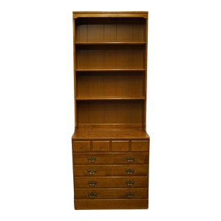 "Late 20th Century Ethan Allen Heirloom Nutmeg Maple Crp 30"" Chest with Bookcase Top For Sale"