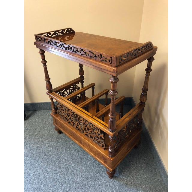 Wood Mobili Burl Canterbury and Console With Carved Fretwork For Sale - Image 7 of 12