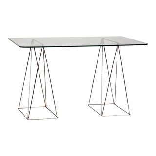 Minimalist Steel and Glass Trestle Table For Sale