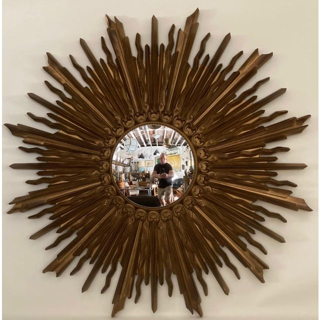 Syroco Wood Vintage Gilded Syrocowood Convex Mirror For Sale - Image 4 of 4