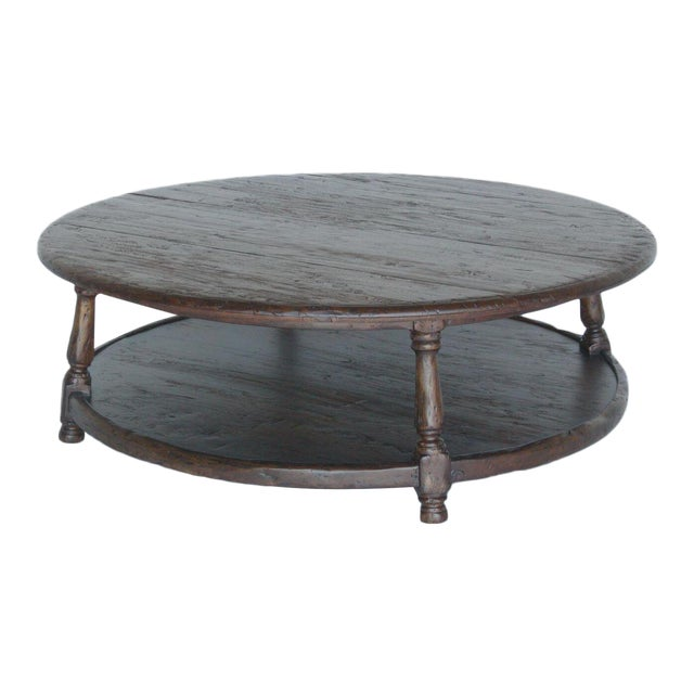 Custom Round Walnut Wood Coffee Table With Shelf For Sale