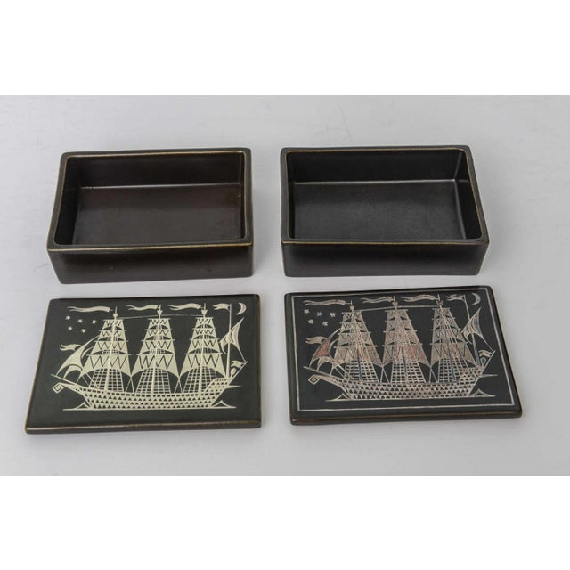 """Black Collection of Gustavsberg """"Argenta"""" Ceramics in Black Glaze with Silver Inlay For Sale - Image 8 of 9"""