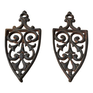 Vintage Cottage Cast Iron Trivets - a Pair