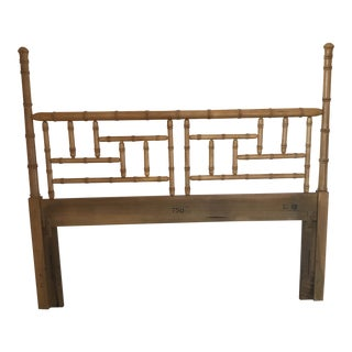20th Century Chinese Chippendale Faux Bamboo Queen Dixie Headboard For Sale