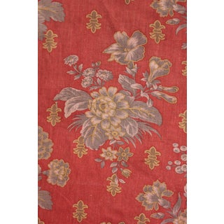 Antique French Curtain Drape W/ Trim Napoleon 111 Red Gray Grey Floral Timeworn For Sale