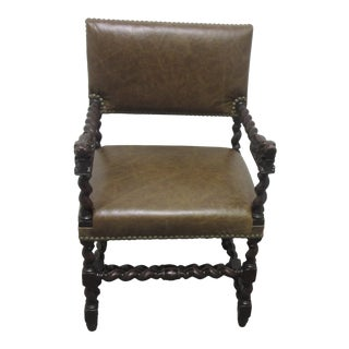 Antique English Barley Twist Leather Desk Chair With Brass Nail Heads For Sale