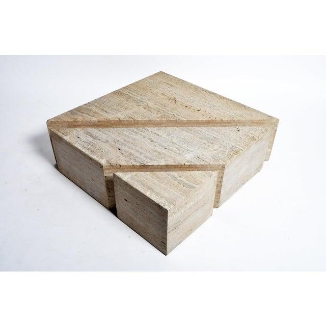 Italian Italian Travertine Marble Three-Part Polygon Coffee Table For Sale - Image 3 of 13