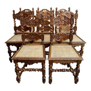 Set 8 Antique French Country Carved Oak Dining Chairs Barley Twist Cane Seat For Sale