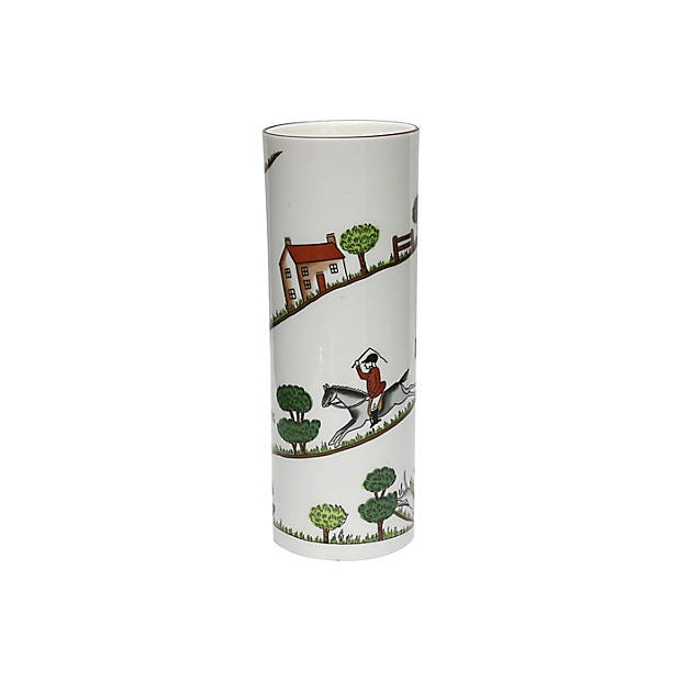 """Coalport porcelain flower vase in """"Hunting Scene"""" pattern. Maker's mark on underside. Light wear."""