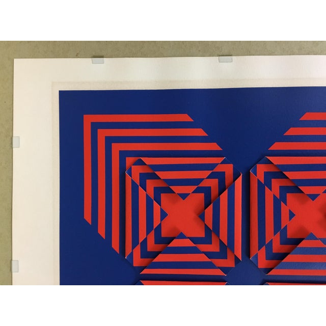 """1971 Vintage """"New Perspective"""" Geometric Op Art Serigraph Collage by Anne Youkeles For Sale - Image 11 of 13"""
