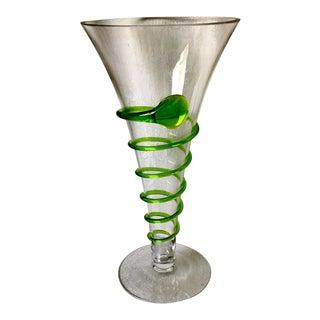 1960's Vintage Blenko Snake Spiral Wrap Tall Vase For Sale