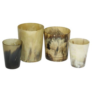 Antique English Horn Bar Cups, S/4 For Sale